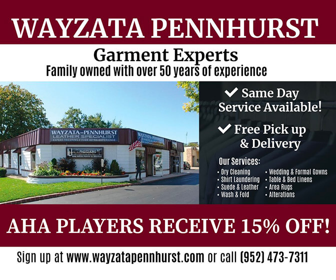 Wayzata Pennhurst Cleaners - 15% off for AHA players